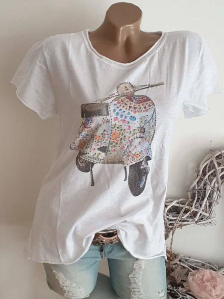 T-Shirt Shirt Roller 36 38 40 Tunika weiss Print Glitzer Nieten unfinished