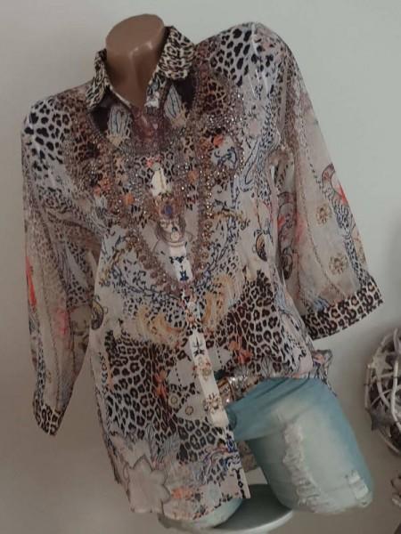 MISSY Bluse Hemdbluse S 36 Leo toller Print Tunika zum knöpfen NEU
