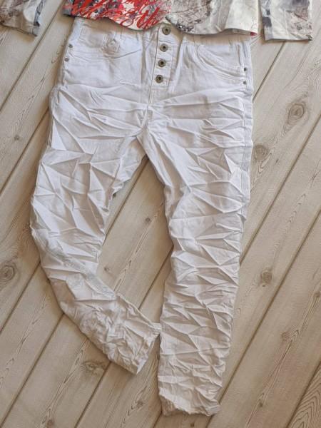 2XL 44 Jeans Jeanshose Sommer Hose stretch KAROSTAR weiss Zierstreifen