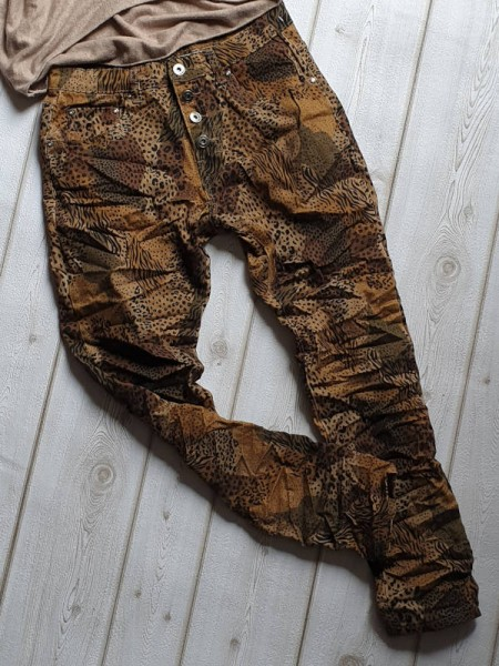 Gr. 38 Camouflage & Animal Print Jeans Baggy Hose PLACE DU JOUR Knopfleiste