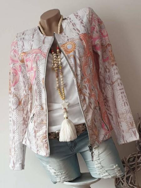 MISSY Jacke Zipperjacke pastellig pink lachs taupe NEU L 40 Glitzer Doppelzipper