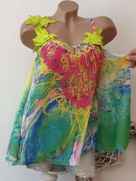 S 36 Bluse schulterfreie MISSY grün pink kiwi bunt Chiffon Tunika Blütenträger