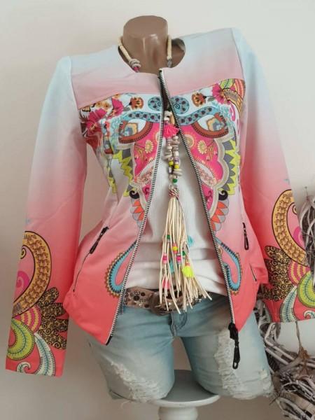 Zipperjacke Glitzer pink bunter Paisley L 40 Print Jacke MISSY Doppelzipper Neu
