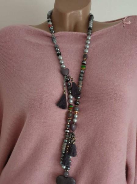 Kette Herz Quaste Bommeln Glas Perlen grau Halskette lange Glasperlen