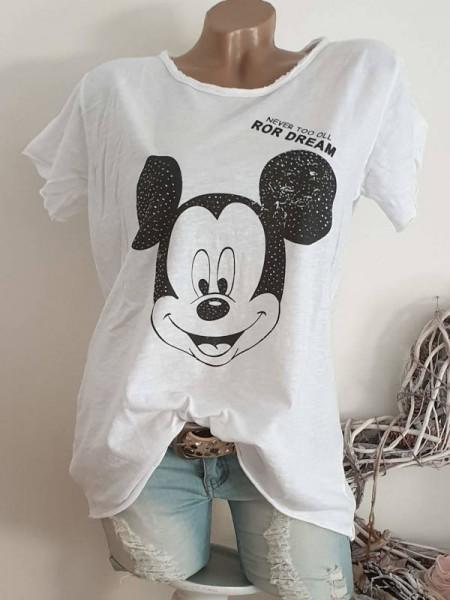 T-Shirt Shirt 38 40 42 Tunika Mouse Glitzer Nieten unfinished
