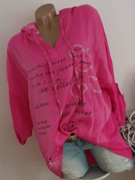 Tunika Bluse Letterprint Neu 40 42 44 Kapuze pink Tunnelzug Nieten
