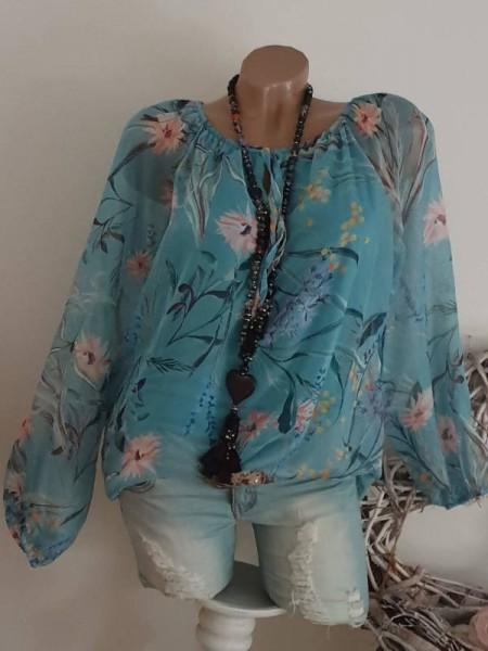 Chiffonbluse Ital. Mode Tunika Bluse Chiffon 38 40 42 türkis bunt floral Italy