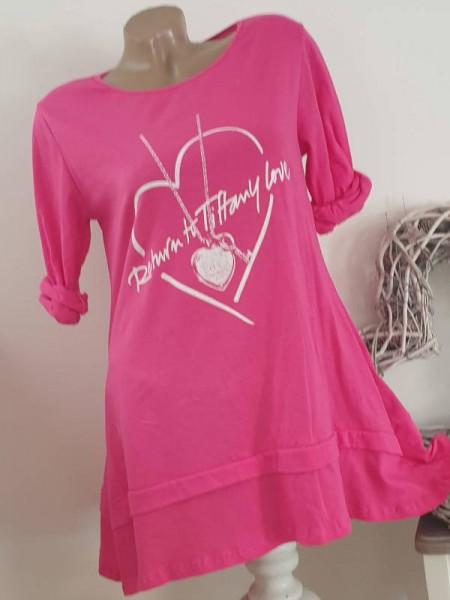 Long Tunika Longsleeve zipfelig pink 36 38 40 Italy mit Print