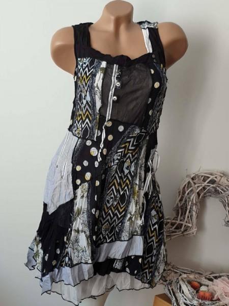 38 Trägerkleid Kleid crushig sichbare Aussennähte Lagenlook Patchwork