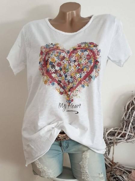 T-Shirt Shirt 38 40 42 Tunika Herz mit Blumen unfinished