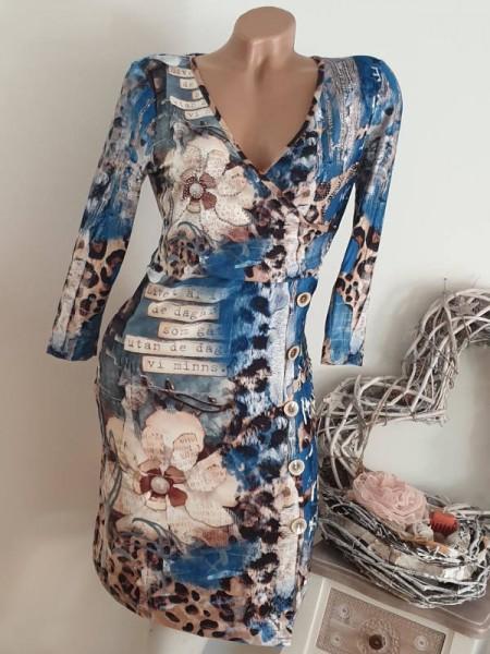 Kleid MISSY Stretch Kleid M 38 Wickeloptik Knöpfe Raffung 3/4 Ärmel Neu