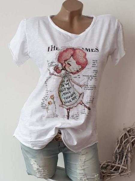 T-Shirt Shirt 36 38 40 42 Tunika weiss Glitzer Nieten Print unfinished