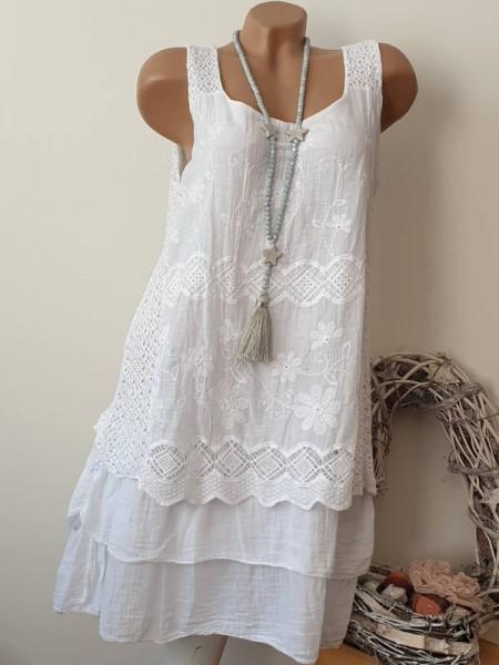 Tunika Kleid 2-lagig Stufenkleid weiss Blumenstickerei 38 40 42 Spitze Romantik