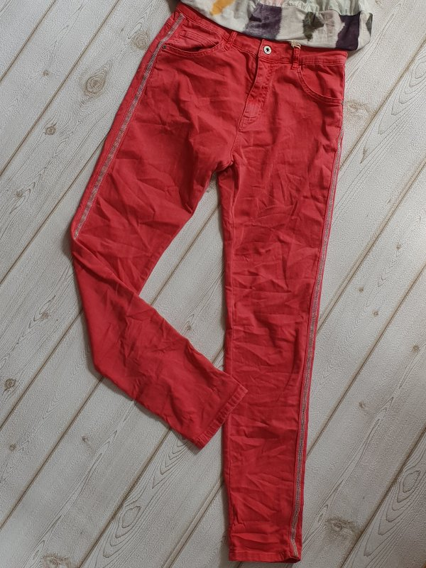 e86c3d817ea8cb Jeans Italy koralle MELLY   CO Hose XL Skinny silber Metall Perlen Streifen