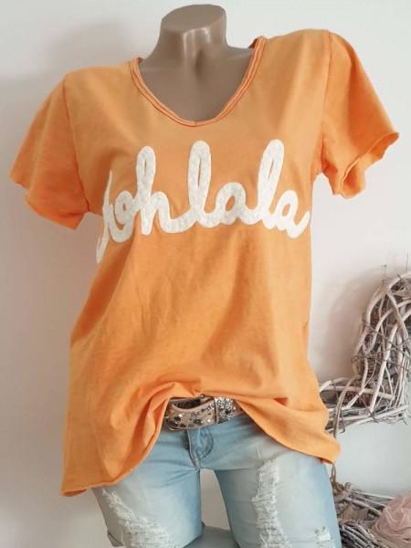 38 40 42 Tunika orange Italy T-Shirt Shirt Flockprint tailliert Rollbündchen