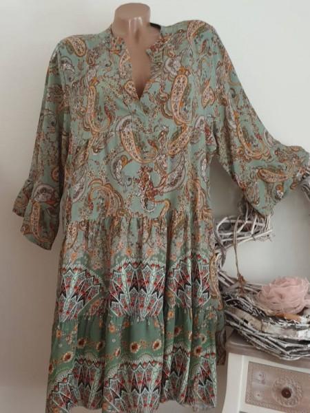 Kleid 40 42 44 graugrün Paisley gemustertes Tunika Hängerchen Viskose