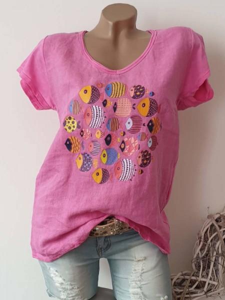 pink Neu 38 40 42 Tunika Kurzarmshirt Shirt Print Baumwolle hinten stretchig