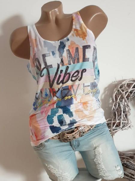 MISSY Schriftzug NEU Top Longtop XL 42 Shirt weiss bunt