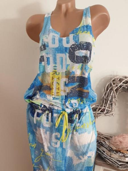Maxikleid XL 42 MISSY blau gelb bunt Print Kleid Tunnelzug tiefe Taille bunt