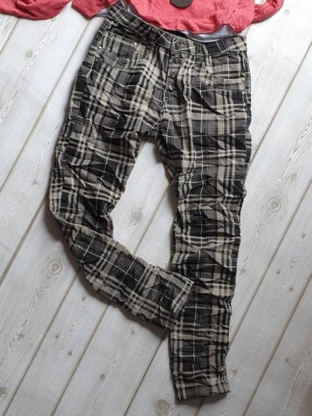 Hose kariert PLACE DU JOUR Gr. 42 Knopfleiste Jeans Baggy Boyfriend taupe grau