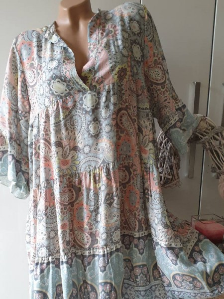 Kleid 40 42 44 grau Paisley gemusterte Tunika Viskose Hängerchen