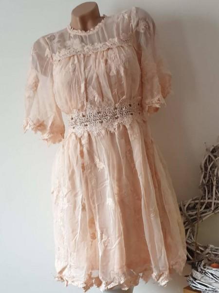 S 34/36 Kleid Spitze Tunika nude rosa Empire Spitzenkleid tailliert 36