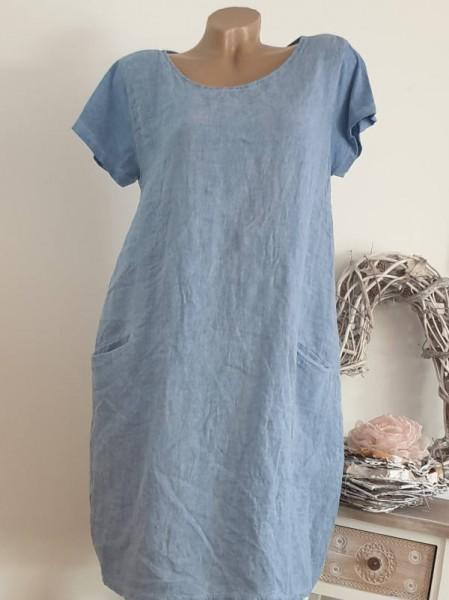 jeansblau Kleid 38 40 42 Kurzarmkleid Baumwolle Italy A-Linie Taschen