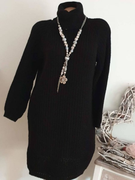 Grobstrick schwarz Strickkleid Kleid Stiefelkleid 36 38 40 Rollkragenkleid