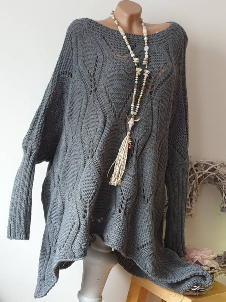 Oversize Grobstrick 40 42 44 46 Pulli Italy Ajour long Pullover Kleid dunkelgrau