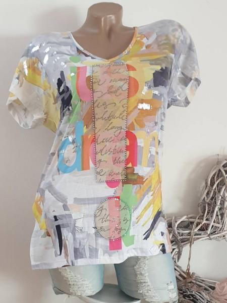 MISSY Kurzarm Tunika Shirt M 38 Seitenschlitze bunt Glitzer Metallprint