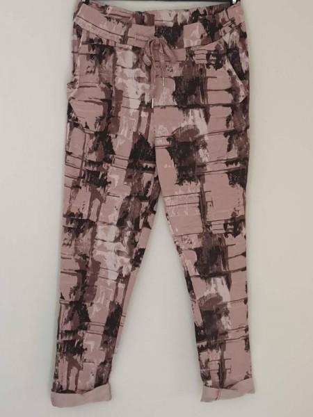 Joggpants Italy Baggy Hose rosa gemustert 38 40 42 Tunnelzug