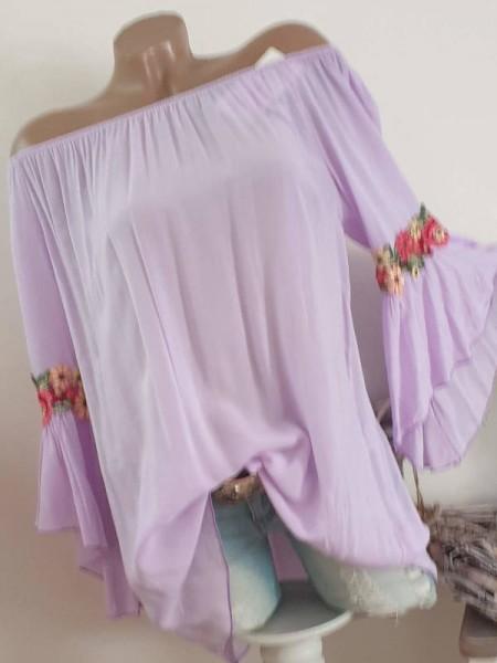 flieder lila Tunika Bluse 38 40 42 Italy Blütenstickerei Carmen Off Shoulder Neu
