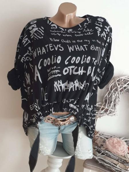 Sweatshirt schwarz weiss Longsleeve 36 38 40 42 Gürtel Letterprint Tunika