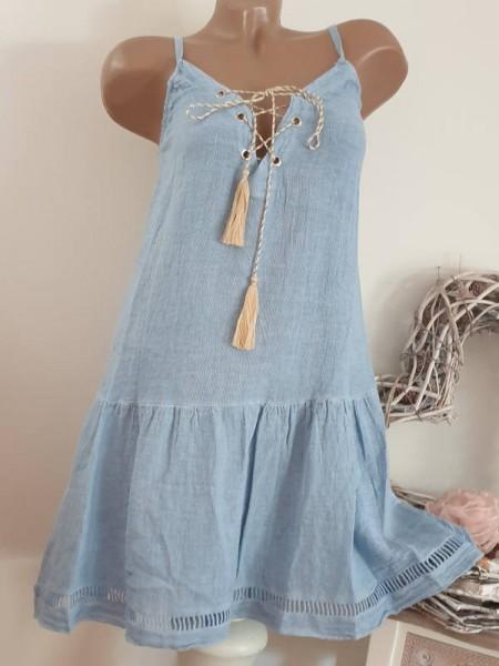 36 38 40 long Tunika Kleid Trägerkleid vorne zum schnüren jeansblau