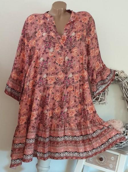 Tunika Kleid 40 42 44 Stiefelkleid rosa bunt Blumen Hängerchen Viskose