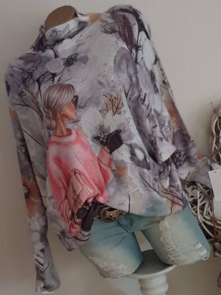Pulli Flauschpulli mit Wolle weiss bunt 40 42 44 Pullover Fledermausarm
