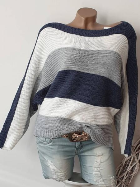 Oversized Fledermausarm 36 38 40 Pulli Pullover blau weiss grau gestreift