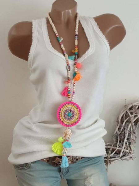 neon pink bunt Muscheln Kette Halskette Hippie Perlen Charms Neu