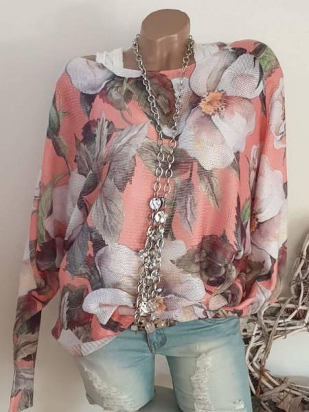 Fledermausärmel lachs floral Feinstrick Pullover 40 42 44 Print Pulli Tunika