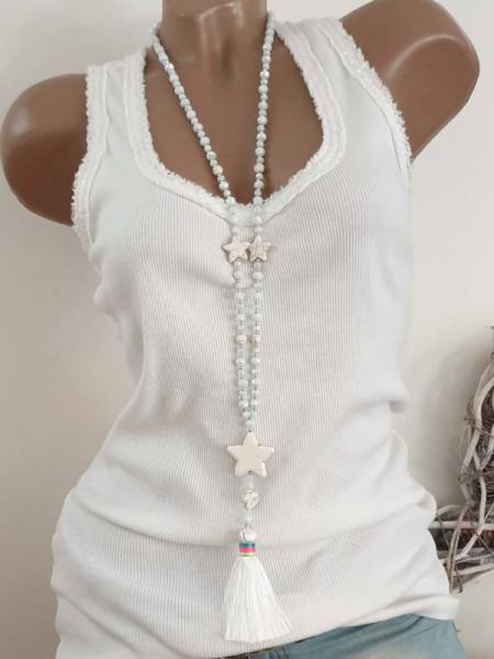 lange Glasperlenkette Glas Perlen Halskette Strass Quaste Sterne grau/weiss