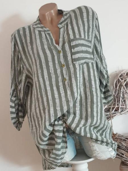 gestreifte Hemdbluse Bluse 38 40 42 Tunika oliv grün Fischerhemd