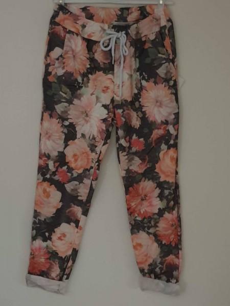 schwarz florale Joggpants Hose 38 40 42 Tunnelzug Italy Baggy stretchig