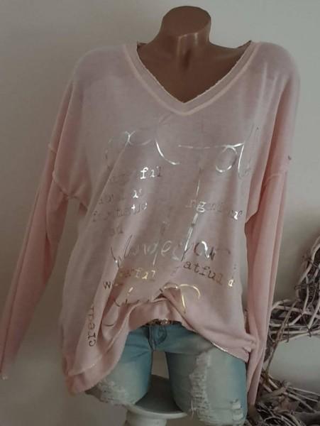 rosa Oversized Feinstrick Tunika Langarmshirt 40 42 44 Metallicprint Lurex Saum
