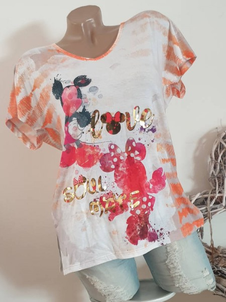 Tunika Shirt MISSY M 38 Kurzarm goldiges Mouse Statement Neu Seitenschlitze