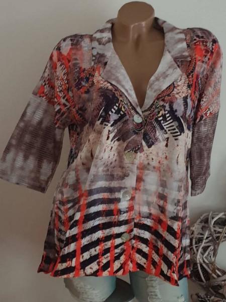 M 38 Tunika Bluse Hemdbluse MISSY Knopfleiste bunt hinten länger Glitzer