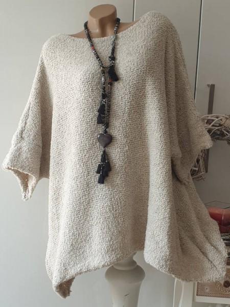 Pulli Überwurf zipfelig beige kastenförmig Onesize Pullover Knötchenwolle