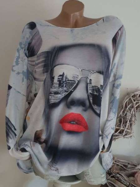 Fashionprint long Tunika Langarmshirt Shirt 40 42 44 Shirt aussen flauschig innen glatt