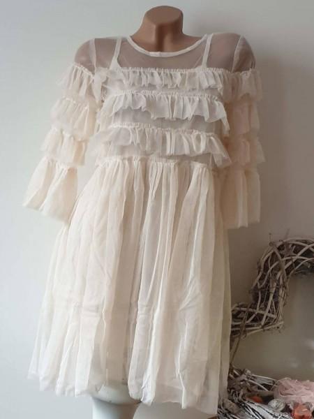 M 38 Romantik Kleid 2tlg Spitzenkleid Volants nude beige Unterkleid separat