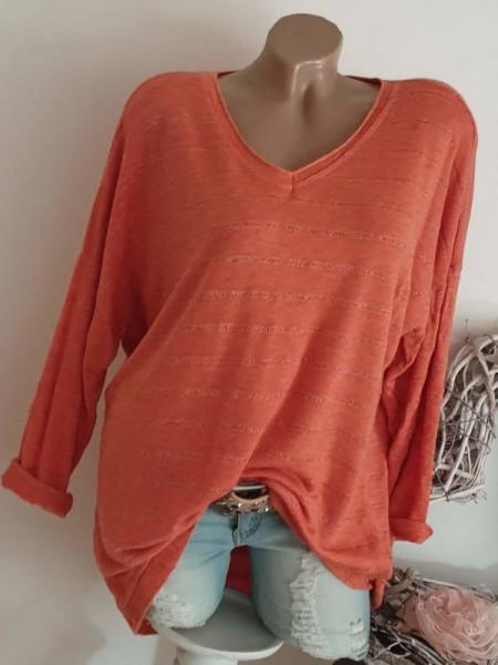 Tunika orange Oversized Lurex Flausch 40 42 44 Pulli Pullover Feinstrick
