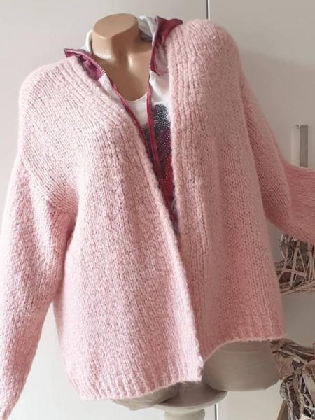 rosa Strickjacke Oversized NEU Cardigan 40 42 44 Ärmel überschnitten
